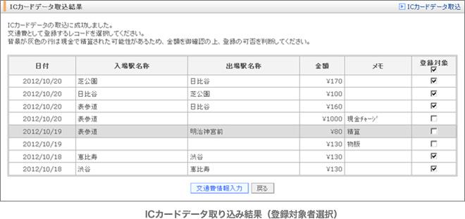 ICカードデータ取り込み結果(登録対象者選択)